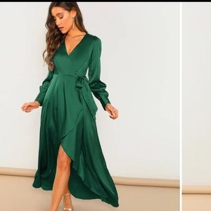 SHEIN Wrap Self Tie Maxi Dress XS